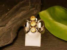 Ausgefallener 925 Silber Ring Dreireihiger Citrin? Groß Brutalist Gelb Orange