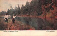FISHING ON HUMBER RIVER TORONTO CANADA POSTCARD 1906