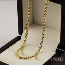 "Mens Ladies 9ct Yellow Gold Plt Twist Rope 24"" Necklace Chain UK -274"