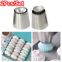 2Pcs DIY Russian Pastry Flower Icing Piping Nozzles Cake Decoration Baking Tool