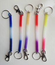 2x Tone multi Coloured Stretchy Plastic Coil Belt Clip Chain Keychain keyring