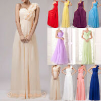 One-Shoulder Bridesmaid Prom Dress Long Evening Wedding Gowns Size 6-26