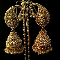 Designer Ethnic Bollywood Paisely Pearl Kundan Jhumka Indian ADIVA Earrings ab95