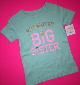 """NEW! """"PROMOTED to BIG SISTER"""" Girls Graphic Shirt 5T Gift Mint ANNOUNCEMENT SS"""