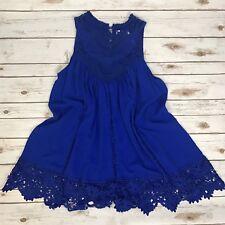 XJF.MC Royal Blue Tank Dress With Lace Accents Size L