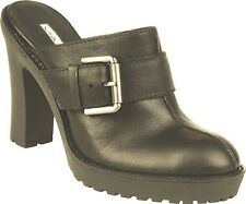 VIA SPIGA Ginessa Olive Green Leather Heels Clogs Mules 6.5 M