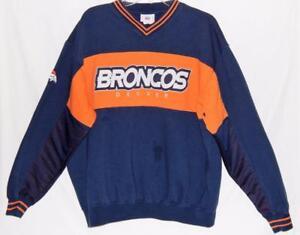 DENVER BRONCOS NFL Men's Navy Blue Orange Spell Out Sweatshirt Size Large