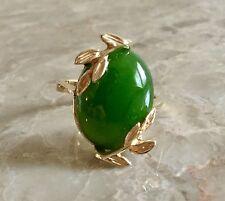 Estate Vintage Natural Jadeite Jade Cocktail Ring 10K  Gold *Special Price*
