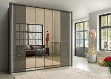 GERMAN LUXURY 4 DOOR WARDROBE BEDROOM FITTED FREE WHITE GREY GRAPHITE HIGH GLOSS