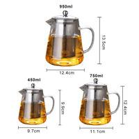 950mL Heat Resistant Glass Bottle Teapot Stainless Steel Infuser Flower Tea Pot