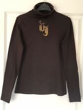 VERSACE JEANS COUTURE LADIES Long sleeve TOP T Shirt Crystals Logo Decor BNWT