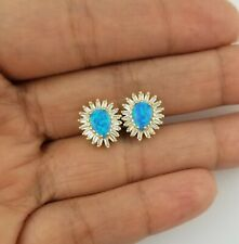 14K Yellow Gold Oval Blue Opal White Sapphire Stud Earrings