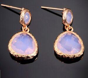 Boho Earrings Rose Gold Blush Pink Crystal Drop Gemstone Bridal Blush Pink Rose