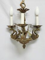 ANTIQUE 1920's BRASS NEO- FRENCH EMPIRE SWAN ARM HANGING CHANDELIER