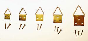 25 Bilderklappösen Gr.3 - 28x14 mm vermessingt Klappösen mit Nägeln Bilderhaken