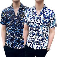 Summer Mens Hawaiian Short Sleeve T Shirt Floral Printed Beach Holiday Tops Tee