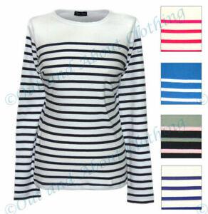 White Captain Corsaire Ladies Striped Breton Top Blue