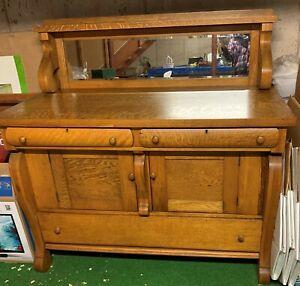 Antique Empire Style Tiger Oak Sideboard Buffet Server Cabinet