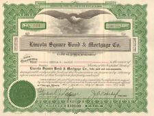 Lincoln Square Bond & Mortgage Co. > 1928 Illinois Chicago stock certificate