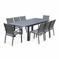 Salon de Jardin table Extensible - Chicago anthracite - table en Aluminium 175/