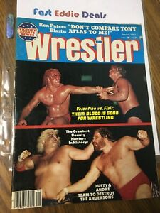 THE WRESTLER MAGAZINE JAN 1981 NATURE BOY RIC FLAIR GREG VALENTINE BLOODY COVER