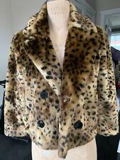 Loft Faux Fur Leopard Cropped Coat