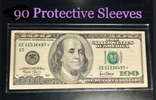 90 SEMI-RIGID Vinyl Money Protector Sleeves US Dollar Bill CURRENCY HOLDERS BCW