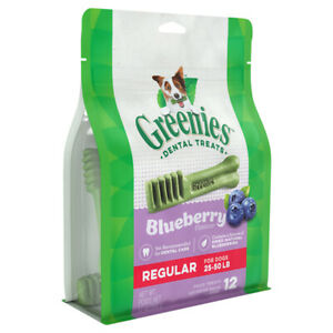 Greenies Blueberry Flavor Dental Treats Regular For Dogs 25-50 LBS 12 Count 12oz