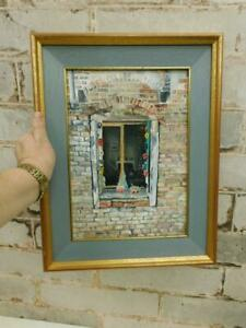 vintage old PAINTING oil mask makers window signed