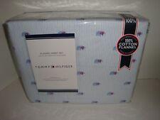 Tommy Hilfiger Polar Bear Flannel Queen Sheet Set Red Scarf Blue White Stripes