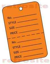 200 Large Price Hang Tags Without Strings Orange 2 Part Perforated
