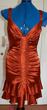 NEW Sz 8-10 Ruched Satin Copper Orange Party Lined Flapper Strictly Dance Dress