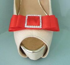 2 Red Satin Bow Clips for Shoes with Diamante Buckle Centre