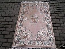 Chinese fine pure silk oriental traditional floral living bed room rug 90x150cm