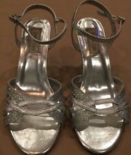 Touch Ups Silver Sparkly Sandals Heels Womens Dressy 7.m Strappy Cocktail Shoes