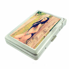Latina Pin Up Girls D3 Cigarette Case with Built in Lighter Metal Wallet