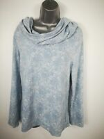 WOMENS ANNA ROSE BLUE FLORAL ROLL NECK JUMPER SWEATER PULL OVER SIZE MEDIUM M