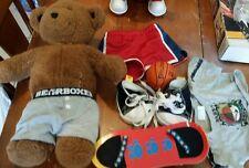 Build a Bear Stuffed Bear Basketball Skateboard Shoes and Clothing Lot