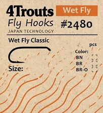 100 FLY TYING HOOKS #10 for tying Classic Wet Flies Bronzed 4Trouts 2480 Series