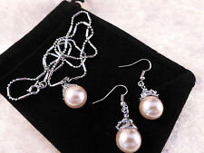 Austrian Crystals 18k White Gold Plated Crystal & Pearl Necklace & Earrings