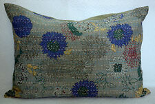 FLORAL PRINTED INDIAN COTTON KANTHA QUILTED GRAY PILLOW COVERS DECOR BEDDING