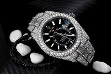 Rolex Sky Dweller Black Dial Stainless Steel 326934 Custom Diamond Watch with Ba