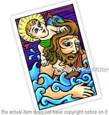 © ART Portrait of St Saint Christopher and Jesus Original Artist Print by Di