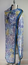 NEW LORO PIANA blue white purple paisley print cashmere silk scarf shawl