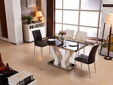 Euphoria Glass Dining Table Stainless Steel Base (Black/Brown)