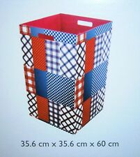LARGE FOLDABLE LAUNDRY AND STORAGE BIN CHECK STRIPES AND DOTS 60CM TALL