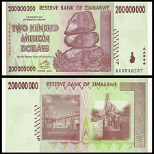 Zimbabwe 200 million Dollars, 2008, P-81, UNC>In 50 100 Trillion Series