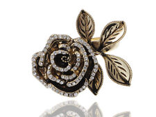 Vintage Golden Tone Clear Rhinstone Gems Flower Rose Lady Fashion Party Ring New