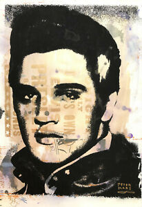 Peter Mars Art LARGE Elvis Presley Gold Portrait The King Memphis Tupelo Rocks
