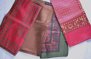 Group (3) Vintage Silk Mens Handkerchiefs - Brooks Brothers